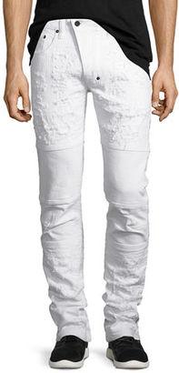 PRPS Marvel Windsor Distressed Stretch-Denim Moto Skinny Jeans $328 thestylecure.com