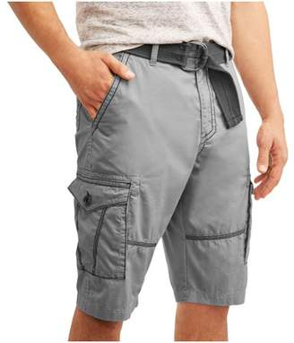 LAZER Men's Belted Cargo Shorts With Embroidered Pockets