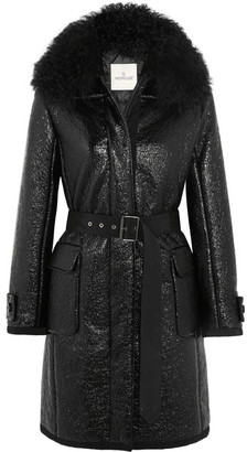 Moncler - Noemie Shearling-trimmed Patent Cotton-blend Down Coat - Black $2,360 thestylecure.com