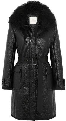 Moncler - Noemie Faux Shearling-trimmed Patent Cotton-blend Down Coat - Black $2,360 thestylecure.com