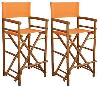 One Kings Lane Set of 2 Director's Chairs - Orange
