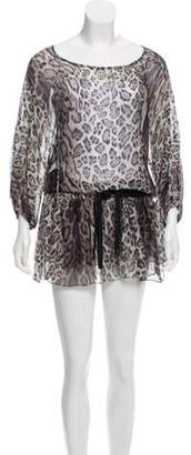 Haute Hippie Sheer Mini Dress Grey Sheer Mini Dress