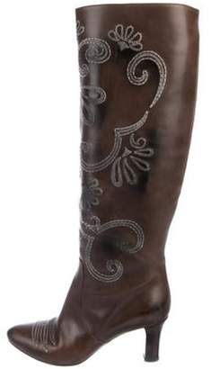 Bottega Veneta Leather Mid-Calf Embroidered Boots Brown Leather Mid-Calf Embroidered Boots