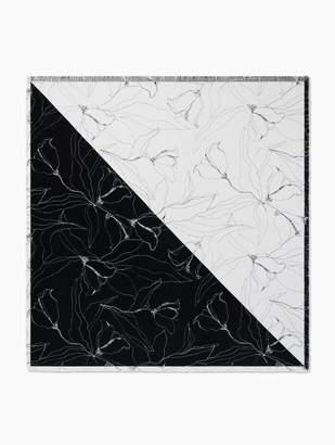 St. John Hand Drawn Artisanal Floral Silk Scarf