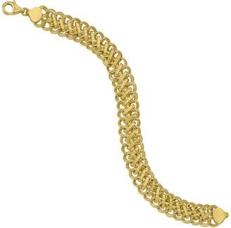 "Italian Gold 7-1/2"" Double Link Charm Bracelet14K, 7.2g"