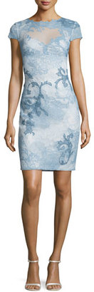 Tadashi Shoji Cap-Sleeve Acanthus Lace Cocktail Sheath Dress, Blue $490 thestylecure.com