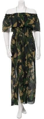 Sonia Rykiel Camouflage Off-The-Shoulder Dress w/ Tags
