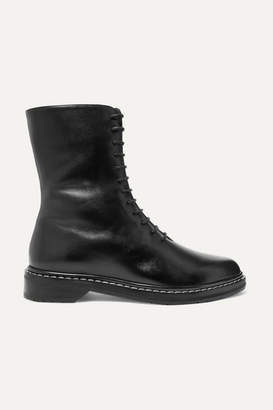 The Row Fara Leather Ankle Boots - Black