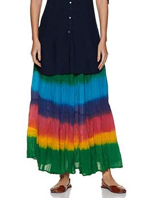 Habiller Women Cotton Elastic Ankle Length Casual Multicolor Tie-Dye A-Line 5 Tier Hemline Skirt