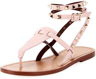 Valentino Flat Rockstud Ankle-Wrap Gladiator Sandals