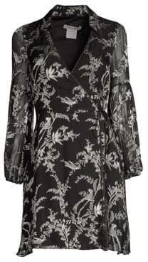 Alice + Olivia Gaston Blouson Sleeve Stretch Silk Wrap Dress