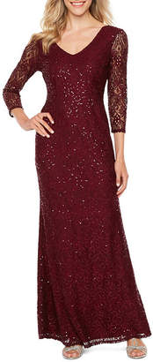 BLU SAGE Blu Sage 3/4 Sleeve Sequin Lace Evening Gown