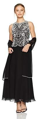 J Kara Women's Petite Sleeveless Scallop Long Beaded Dress with Scarf