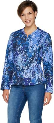 Isaac Mizrahi Live! Floral Branch Print Quilted Knit Jacket
