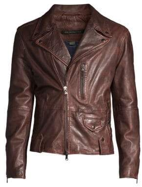 John Varvatos Sammy Waxed Leather Biker Jacket