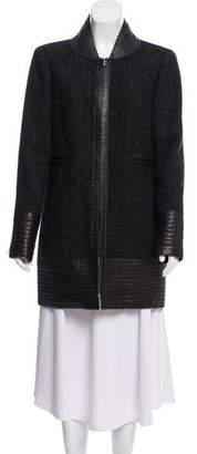 Chanel Leather-Trimmed Wool Coat
