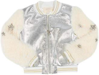 Hannah Banana Metallic Faux Leather Bomber Jacket w/ Faux Fur Sleeves, Size 7-14