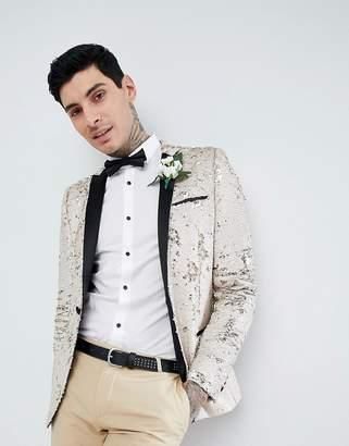 Asos Design Wedding Super Skinny Blazer In Cream Reversible Sequins