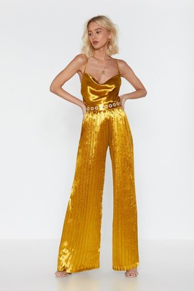 2b2a48bd Nasty Gal Gold Ruche Satin Wide-Leg Pants