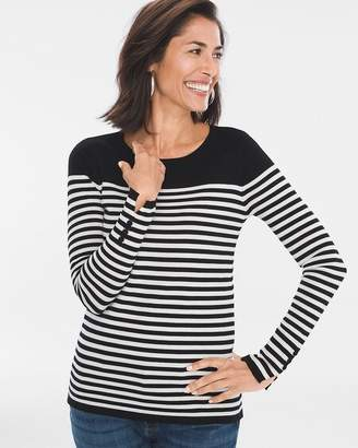Striped Button-Sleeve Pullover
