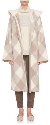 Loro Piana Cashmere Geometric Shearling Hood Coat
