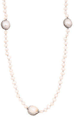 Pearl Hematite And Crystal Necklace