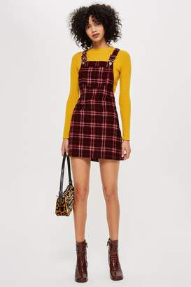 Topshop PETITE Check Print Corduroy Pinafore Dress