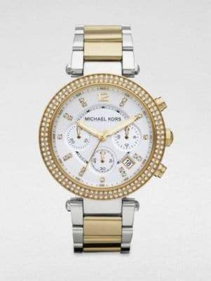 Michael Kors Crystal Two-Tone Stainless Steel Chronograph Watch