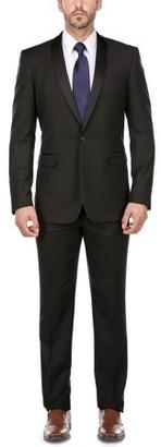 Verno Men's Black Shawl Collar Tuxedo Slim Fit Suit