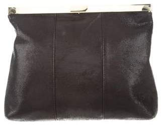 Halston Embossed Leather Frame Clutch