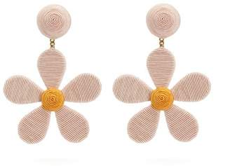 Rebecca De Ravenel Daisy Cord Clip Earrings - Womens - Pink