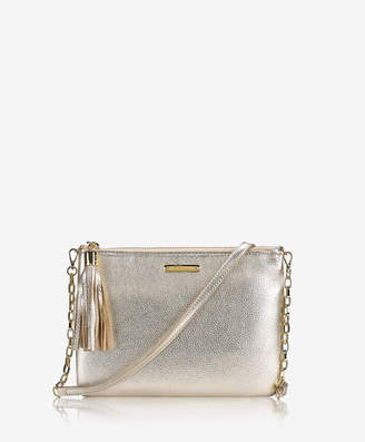 GiGi New York Chelsea Crossbody, White Gold Metallic Goatskin
