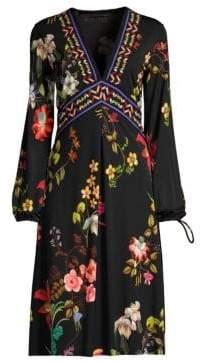 Etro V-Neck Garden Floral Jersey Dress