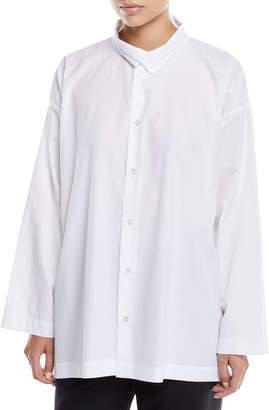 eskandar Two-Collar Button-Front Long-Sleeve Slim A-Line Poplin Shirt