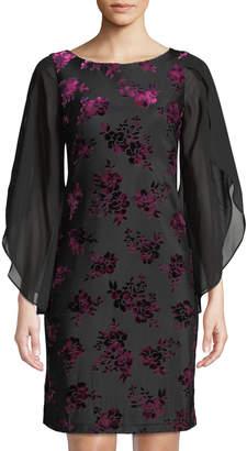 Donna Ricco Velvet Burnout Floral Split-Sleeve Shift Dress