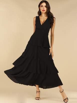 Shein Solid V-neck Layered Hem Dress