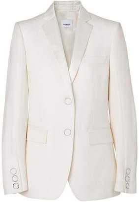 Burberry Silk Trim Press-stud Wool Tailored Jacket