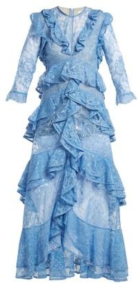 Erdem Koral Ruffle Trimmed Lace Dress - Womens - Blue