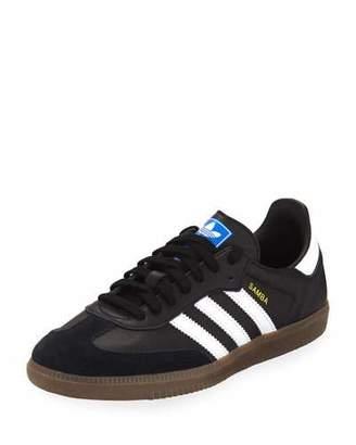 adidas Samba Original Leather/Suede Sneakers, Black/White