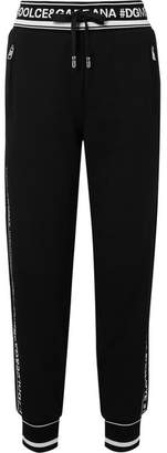 Dolce & Gabbana Intarsia-trimmed Cotton-jersey Track Pants - Black