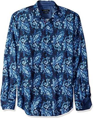 Bugatchi Men's Fitted Long Sleeve Printed Paisley Button Down Shirt