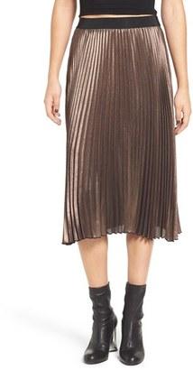 Women's Leith Metallic Pleat Midi Skirt $75 thestylecure.com