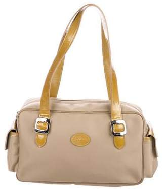 Longchamp Patent Leather-Trimmed Duffle Bag