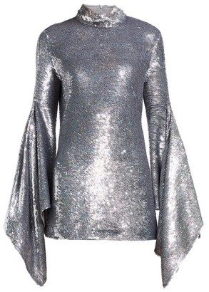Ashish Gaia Drape Sleeve Sequinned Mini Dress - Womens - Silver