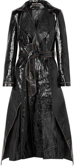 Marvin Crinkled-leather Trench Coat - Black