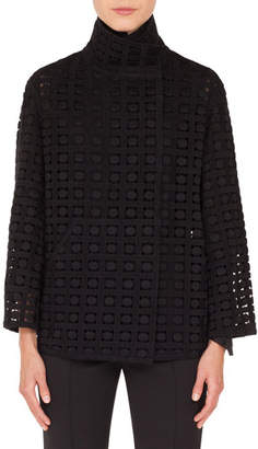 Akris Stella Stand-Collar Embroidered Jacket