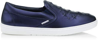 Jimmy Choo GROVE Navy Metallic Nappa Leather Slip On Trainers with Embossed Stars