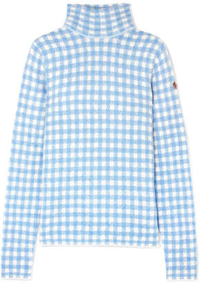 Moncler Checked Knitted Turtleneck Sweater - Light blue