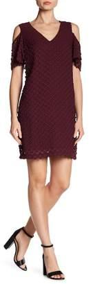 BCBGMAXAZRIA Cold Shoulder V-Neck Textured Dress