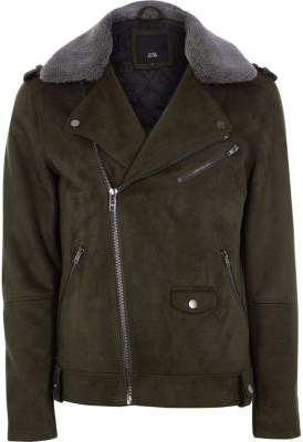 River Island Green faux suede fleece collar biker jacket